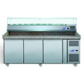 Blizzard BPIZ2000: 3 Door Refrigerated Pizza Prep Counter with Granite Work Top