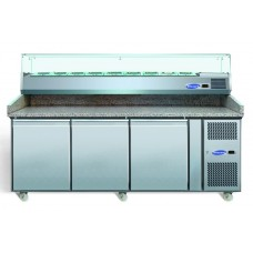 Blizzard BPIZ2000: 3 Door Refrigerated Pizza Prep Counter with Granite Work Top