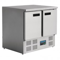 Polar U636: 240 Litre 2 Door Refrigerated Preparation Bench in stainless steel
