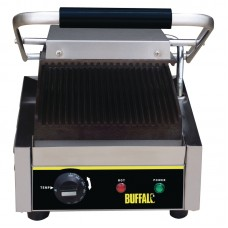 Buffalo CD474: Bistro Single Contact Grill - Ribbed Plates