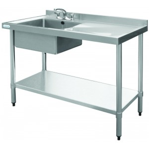 Vogue U901: 1000mm wide commercial sink left hand bowl right hand drainer. Taps sold separately. Product code: Y770.