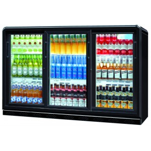 Coolpoint CX351: 300 Litre Treble Sliding Door Beer Fridge - Black - Special Offer Price