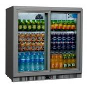 Coolpoint HX250: 192 Litre Double Sliding Door Beer Fridge - Silver Grey