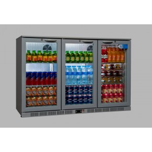 Coolpoint HX300: 300 Litre Treble Hinged Door Beer Fridge - Silver Grey