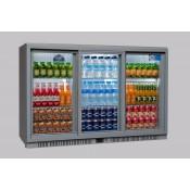 Coolpoint HX350: 300 Litre Treble Sliding Door Beer Fridge - Silver Grey