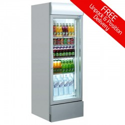 Coolpoint CX404: 360 Ltr. Single Glass Door Upright Fridge - Silver with LED Lighting