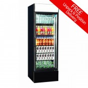 Coolpoint CX405: 360 Ltr. Single Glass Door Upright Fridge - Black with LED Lighting