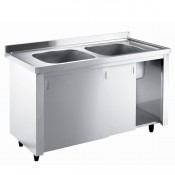 Inomak LK5192C: INOMAK Catering Sink on Cupboards - Double Centre Bowls with Side Drainers
