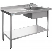 Vogue U902: 1000mm wide commercial sink right hand bowl left hand drainer. (Taps are sold separately. Product code for the taps: Y770)