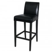 Bolero GG651: Faux Leather High Bar Stool with Backrest Black