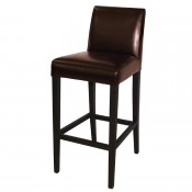 Bolero GG652: Faux Leather High Bar Stool with Backrest Dark Brown