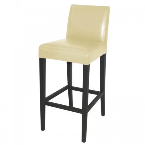 bolero gg653 faux leather high bar stool with backrest cream. Black Bedroom Furniture Sets. Home Design Ideas