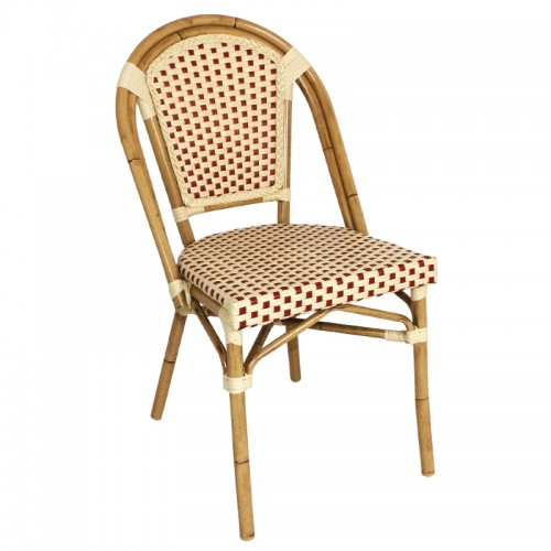 Bolero GJ769 Continental Bistro Faux Wicker Armchairs Red and Cream Pack of 4