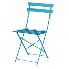 Bolero GK982: Pavement Style Steel Chairs Seaside Blue (Pack of 2)