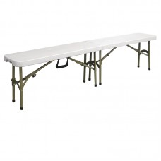 Bolero Y817: Centre Folding Bench White 6ft (1.8m)