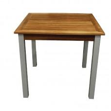 Bolero Y821: Wood and Aluminium Square Table 800mm