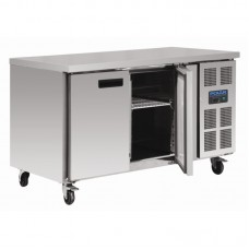 Polar G599: 2 Door Steel Freezer Food Preparation Counter Freezer with side mounted condenser