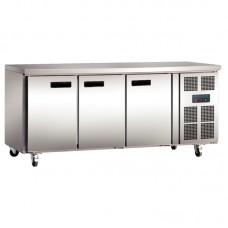 Polar G600: 3 Door Steel Freezer Food Preparation Counter Freezer with side mounted condenser