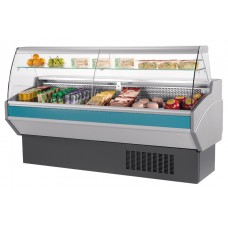 Mafirol Atena 1000FE-TVCR: 1m Slimline Curved Glass Delicatessen Serve Over Display with Understorage & Static Cooling - Only 800mm Deep