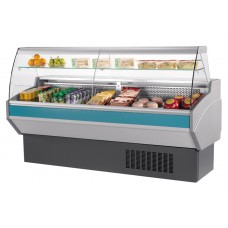 Mafirol Atena 1000FV-TVCR: 1m Slimline Curved Glass Delicatessen Serve Over Display with Understorage & Fan Assisted Cooling - Only 800mm Deep