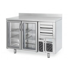 Infrico FMPP1500CR-09: 2 Glass Door Tall Back Bar Cooler Counter with LED Lighting - 325ltr