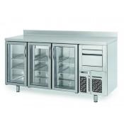 Infrico FMPP2000CR-09: 3 Glass Door Tall Back Bar Cooler Counter with LED Lighting - 510ltr