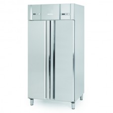 Infrico AGN602MIX: Slimline Stainless Steel Dual Temperature Fridge-Freezer with LED Lighting - 325Ltr+325Ltr