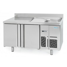 Infrico BMPPF1500: 2 Door Refrigerated Counter with Integrated Sink 600mm Deep - 245ltr