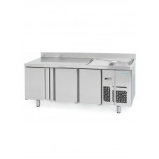 Infrico BMPPF2000: 3 Door Refrigerated Counter with Integrated Sink 600mm Deep - 385ltr