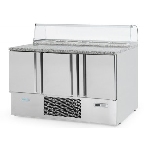 Infrico ME1003PIZZA: Stainless Steel Refrigerated Gastronorm Counter - 355Ltr