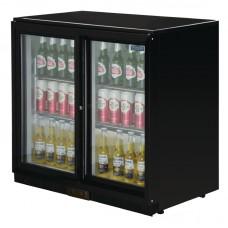 POLAR GL003: 208Ltr Sliding Door Back Bar Beer Cooler 900mm High with LED Lighting & 2 YEAR FULL WARRANTY