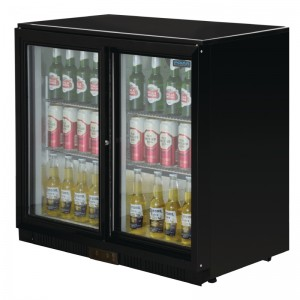 POLAR GL003: 208Ltr Sliding Door Back Bar Beer Cooler 900mm High with LED Lighting & 2 YEAR FULL WARRANTY