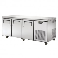 True TGU-3-HC: 3 Door Stainless Steel Refrigerated Gastronorm Counter - 456Ltr
