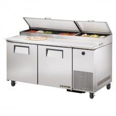 True TPP-67: 2 Door Stainless Steel Pizza Prep Table - 583Ltr