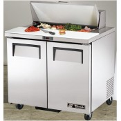 True TSSU-36-8: 2 Door Stainless Steel Refrigerated Gastronorm Saladette Counter - 240Ltr