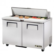 True TSSU-48-12-HC: 2 Door Stainless Steel Refrigerated Gastronorm Saladette Counter - 340Ltr