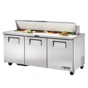 True TSSU-72-18: 3 Door Stainless Steel Refrigerated Gastronorm Saladette Counter - 538Ltr