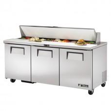 True TSSU-72-18: 3 Door Stainless Steel Refrigerated Gastronorm Saladette Counter - 538Ltr