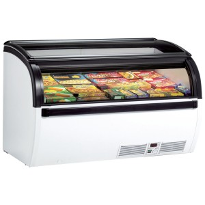 Arcaboa Vision 150H: 1.5m Hinged Curved Glass Lid Commercial Chest Freezer - 492Ltr