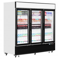 Interlevin LGC7500: LOW-ENERGY Triple Glass Door Display Chiller with LED Lighting - 2050Ltr