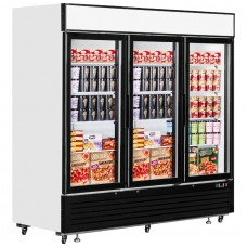Interlevin LGF7500: LOW-ENERGY Triple Glass Door Display Freezer with LED Lighting - 2050Ltr
