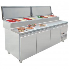 Mercatus S1-1980: 3 Door Refrigerated Gastronorm Pizza Preparation Counter - 331Ltr