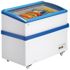 Arcaboa VCL320: 1.1m Hinged Curved Glass Lid Commercial Chest Freezer - 290ltr