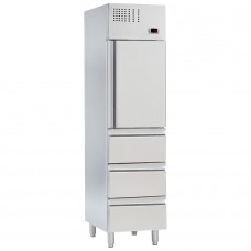 Mercatus Q3-500: Fresh Fish Slim Refrigerator with 3 Drawers
