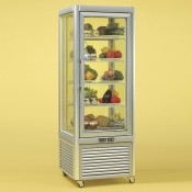 Tecfrigo Prisma 400QS: Glass Display Fridge in Silver Finish with Wire Shelves