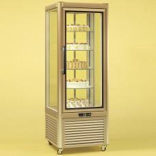 Tecfrigo Prisma 400RG: Cake Display Fridge in Gold Finish with Rotating Glass Shelves