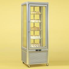 Tecfrigo Prisma 400RS: Glass Display Fridge in Silver Finish with Rotating Glass Shelves