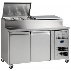 Tefcold SS7200: 2 Door Refrigerated Gastronorm Pizza Preparation Counter - 320Ltr