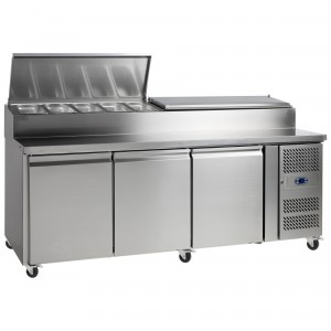 Tefcold SS7300: 3 Door Refrigerated Gastronorm Pizza Preparation Counter - 429Ltr
