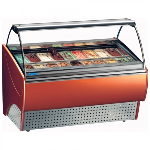 Tecfrigo Gran Gala 24: 2.2m Ventilated Soft Scoop Ice Cream Display - 24 Pans